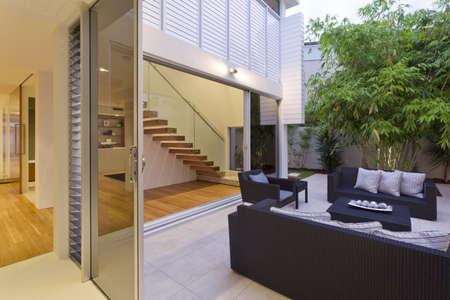 Modern backyard with entertaining area in stylish Australian home 写真素材