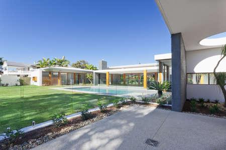 Modern backyard with swimming pool in Australian mansion Stock Photo - 15616638