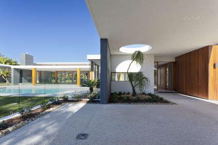 Modern backyard with swimming pool in Australian mansion Stock Photo