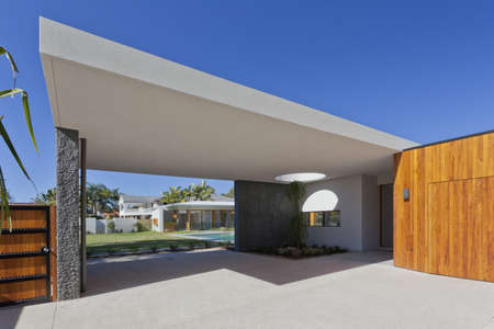 architectural exterior: Modern Australian house front and entrance Stock Photo