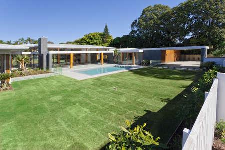 Modern backyard with swimming pool in Australian mansion Stock Photo - 15616711