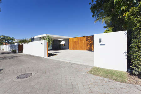 Modern Australian house front and entrance Stock Photo