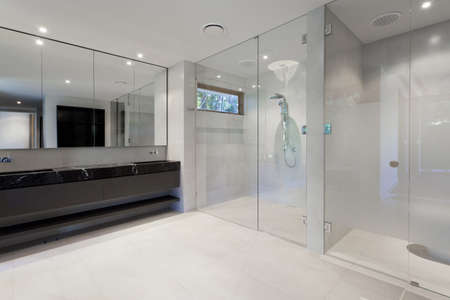 bad: Luxus-Badezimmer mit Spiegel, Waschbecken, Dusche und WC