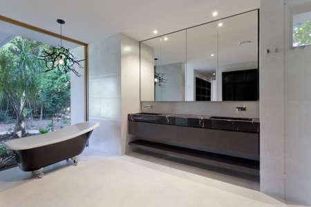 lavabo salle de bain: Salle de bains luxueuse avec miroir, lavabo et baignoire classique Banque d'images