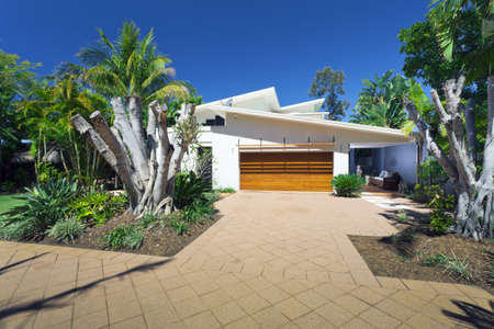 outside outdoor outdoors exterior: Modern house front and entrance