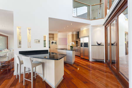 Dining area and kitchen in stylish Australian home Stock Photo - 15616601