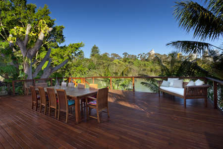 wooden deck: Outdoor entertaining deck with waterfront views