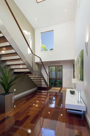 hallway: Stylish house interior with staircase