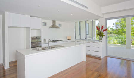 Newly built luxury empty kitchen Archivio Fotografico