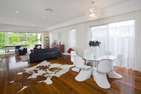 cow hide: Modern living room in Australian mansion