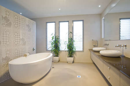 bathroom interior: Luxury bathroom with twin sinks