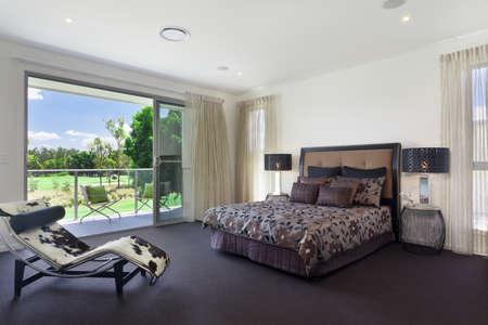 master bedroom: Stylish double bedroom in australian mansion Stock Photo
