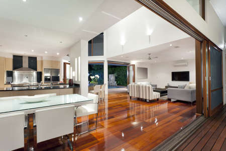 exterior house: Luxurious home interior with large sliding doors