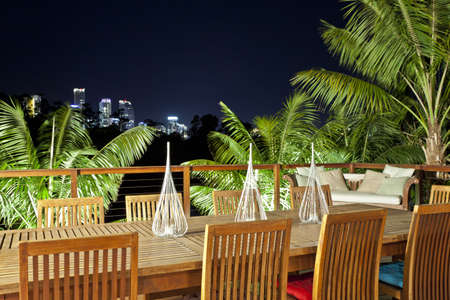 entertaining area: Outdoor entertaining area with beautiful city skyline view