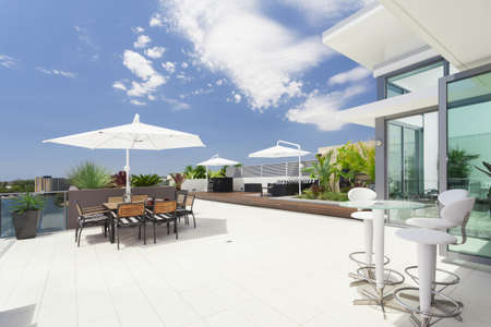 Modern balcony in luxury penthouse Archivio Fotografico