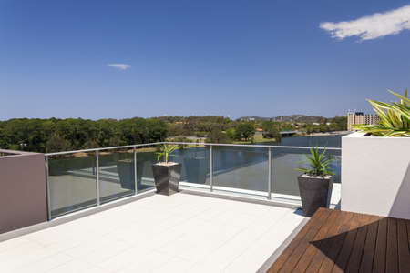 penthouse: Suburban view from sunny balcony