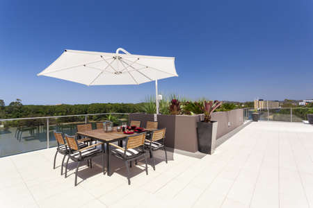Sunny luxurious penthouse balcony photo