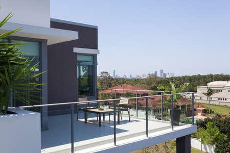 Small balcony overlooking the city