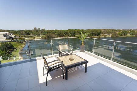 Small balcony overlooking the suburbs 写真素材