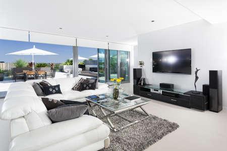 balcony window: Luxury living room and balcony Stock Photo