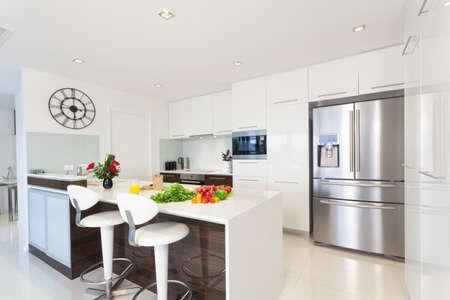 Modern kitchen with groceries Archivio Fotografico