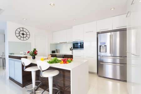 Modern kitchen with groceries Stock Photo