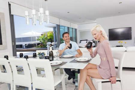 Attractive woman in luxury apartment Archivio Fotografico