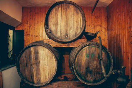 Wooden windery barrels in Spanish cellar Stock Photo - 22842356