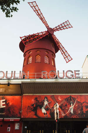 moulin: The Moulin Rouge Windmill in Paris Editorial