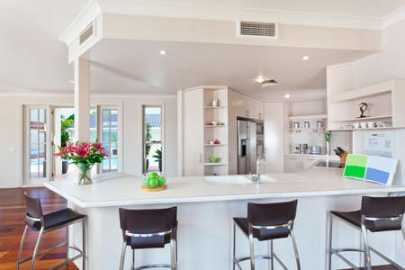 modern minimal white kitchen in australian home