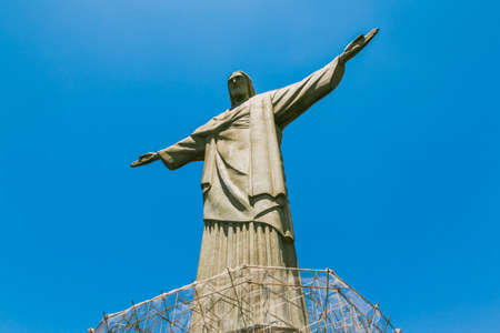 rio: Christ the Redeemer Rio De Janeiro with bright blue sky in background Editorial
