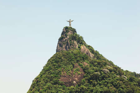rio: Christ the Redeemer staue on top of Tijuca Forest