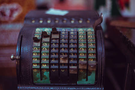 old times: old antique rusty calculator