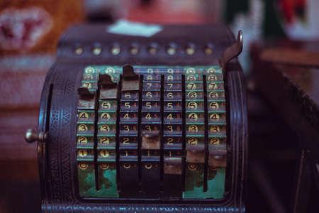 time machine: old antique rusty calculator