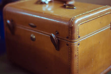 thrift box: Pre loved brown leather box like bag Stock Photo