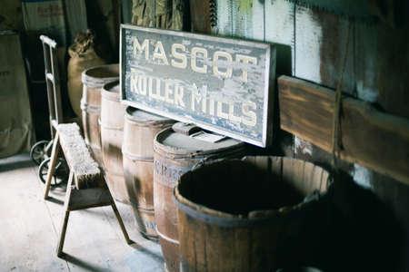 Vintage wodden barrels and sign