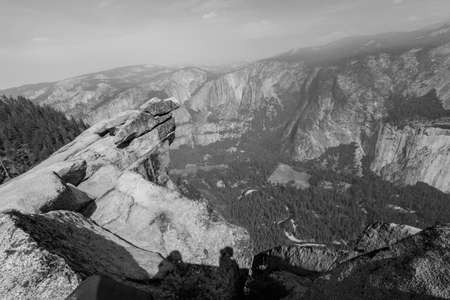Beautiful view from Glacier Point, Yosemite on a cloudy morning in black and White photo
