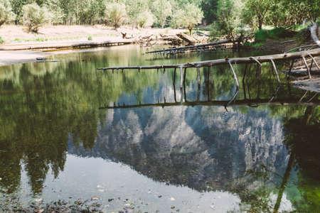 merced: Mountan reflecting in Merced River, Yosemite