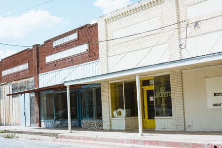 contryside: strip of abandoned stores in the Texas contryside Editorial