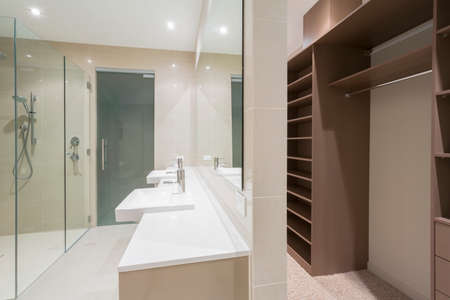master bath: Spacious contemporary bathroom with shower and walk in robe