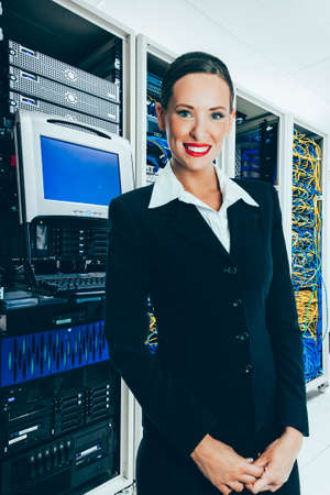 The mainframe and communication racks in datacenter for large organisation