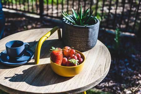 Fresh fruit, plant and a cup and saucer on a wooden table in the garden. Stock fotó