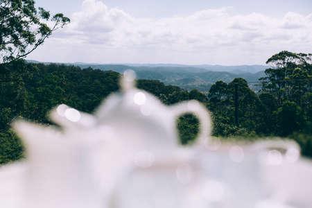 white tea pot set with views over hinterland