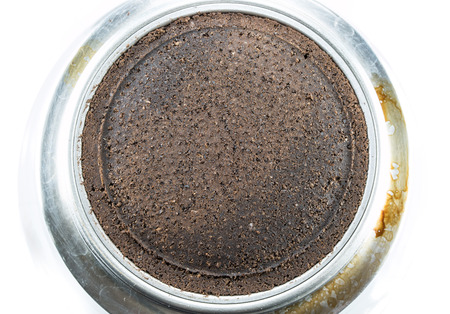 residue: residue ground coffee ready from make espresso on moka pot Stock Photo