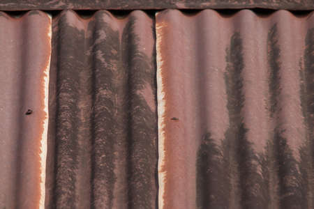 grooved: Roof rusty corrugated iron metal texture