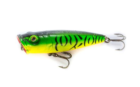 silver perch: Fishing lure popper. Casting and spinning. Isolated