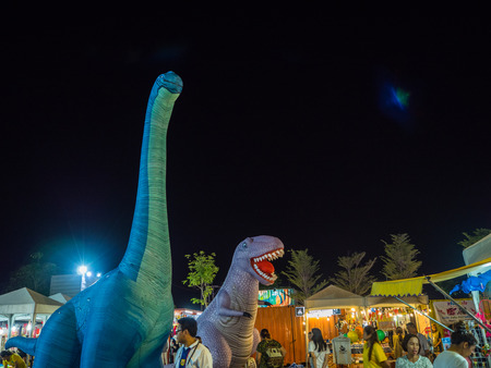 Chonburi, THAILAND - APR 30, 2017: Big Balloon dinosaurs in kids park on APR 30 2017. at  Treebox Sriracha, Thailand. Editorial