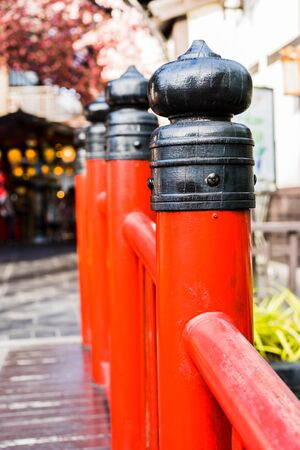 The red poles of the Japan style bridge