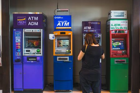 CHONBURI- JULY 7, 2018 : Many of Automatic Teller Machine, ATM in J-PARK Shopping mall on JULY 7, 2018 in CHONBURI, Thailand.