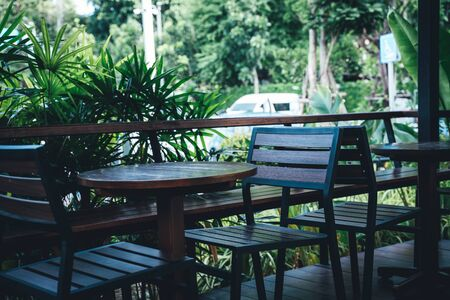 The Table and chairs in a tropical garden Stockfoto
